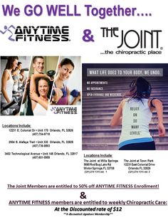 Why not feel relief on all levels from your spine to your whole body? Maintain your wellness with The Joint at Town Park and Anytime Fitness partnership. ‪#‎savings‬ ‪#‎healthyself‬ ‪#‎wellness‬ ‪#‎preventativecare‬ ‪#‎familyaffair‬ ‪#‎strong‬ ‪#‎balanced‬