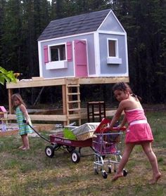 31 Free DIY Playhouse Plans to Build for Your Kids Secret Hideaway Simple Playhouse, Kids Playhouse Plans, Outside Playhouse, Childrens Playhouse, Playhouse Kits, Backyard Playhouse, Build A Playhouse, Wooden Playhouse, Outdoor Playhouses