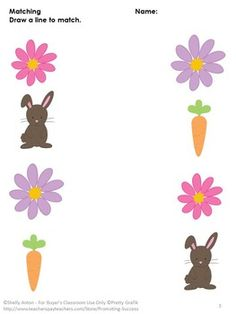 FREE Printable - Spring Free Worksheets - You will receive three free spring Easter worksheets for preschool and/or kindergarten. They are all matching worksheets (no prep) along with answer keys. Easter Worksheets, Easter Activities, Spring Activities, Visual Perception Activities, Matching Worksheets, Free Worksheets, Kids Writing, Preschool Kindergarten, Teaching Materials