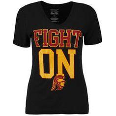 USC Trojans Women's Trojans Fight V-Neck T-Shirt - Black