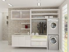 These small laundry room ideas will certainly help you be much more efficient at this daily job. Get rid of washday blues with our laundry cabinets Laundry Room Rugs, White Laundry Rooms, Modern Laundry Rooms, Laundry Area, Hidden Laundry, Laundry Room Cabinets, Laundry Room Organization, Room Wall Tiles, Make A Closet