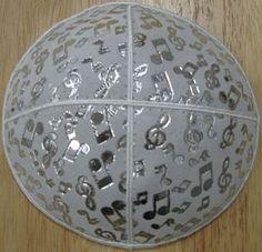 C87musicalnotes-SL-S | Silver Metalic Musical Notes on White Shiny Leather | Yarmulke | Kippah | Benchers | Kippot | Tallit
