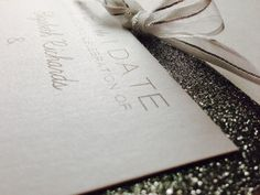 Modern Glitter Save-The-Date // New Years Eve by PeoniesPolkaDots