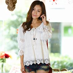 New Spring 2014 Women Lace Cutout Embroidery Loose Shirts Summer Female Vestidos Sheer Gypsy Blouses Feminina Blusa Cigana Tops $16.98