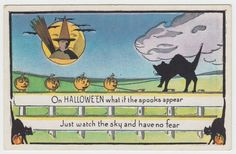 Halloween Vintage Postcard Series 412 Black Cat Fence Witch JOL Bats Full Moon…
