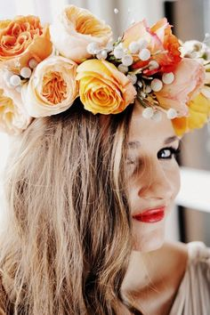 Boho bride's peach and yellow flower crown corona halo ♔