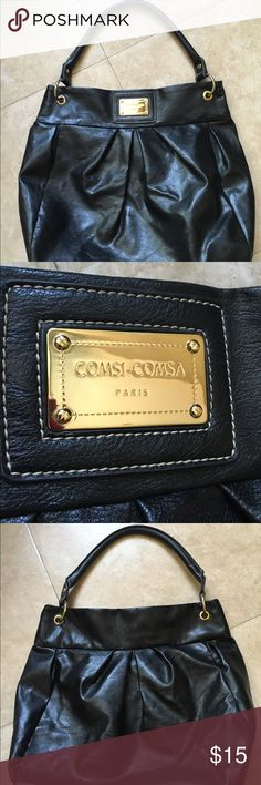 """Comsi Comsa black faux leather shoulder bag large Large Comsi Comsa Black faux leather shoulder bag is 15L x 15H x 6 D... It has 2 interior pockets and one that zips...Shoulder strap has 8"""" drop and it is in near perfect condition... Comsi Comsa Paris Bags Shoulder Bags"""