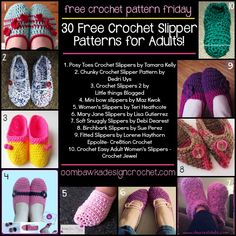 30 Free Crochet Slipper Patterns for Adults Oombawka Design Crochet ✿⊱╮Teresa Restegui http://www.pinterest.com/teretegui/✿⊱╮