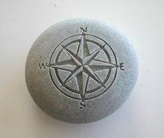 Compass Rose Engraved Stone Nautical River Rock by MonkeysJewels