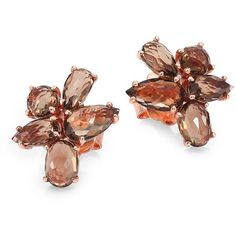 IPPOLITA Rose Rock Candy Smokey Quartz Pear Cluster Stud Earrings ($620) ❤ liked on Polyvore featuring jewelry, earrings, apparel & accessories, rose gold, rose earrings, post earrings, ippolita earrings, smoky quartz earrings and rock jewelry