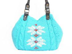 Turquoise Shoulder Bag - Celebrity Style With Genuine Leather Black  Straps / Handles hand bag hand made-knit bag. $125.00, via Etsy.