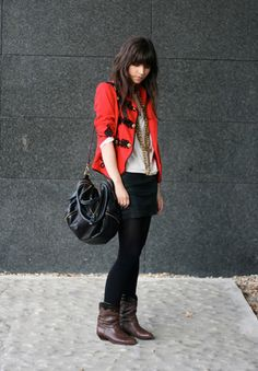 Betty A - Topshop Jacket, Urban Outfitters Skirt, Urban Outfitters Bag, Vintage Boots - Argh vite un titre! Love Fashion, Fashion Outfits, Womens Fashion, Mode Boho, Vintage Boots, Fall Winter Outfits, Well Dressed, My Outfit, Urban Outfitters