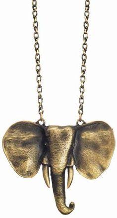 Gold Taj Elephant Necklace - Unique Vintage - Cocktail, Evening & Pinup Dresses