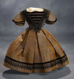 """What Finespun Threads"" - Antique Doll Costumes, 1840-1925 - March 12, 2017: 28 Brown Silk Taffeta Gown with Black Alencon Lace in Mode Enfantine"