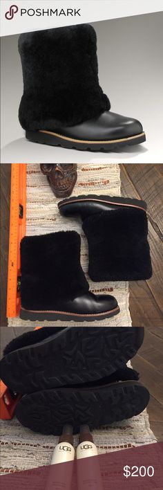 Ugh Maylin Sheepskin Foldover Boots Tag says US 7 / UK 5.5 / EU 8 / Japan 240  Ugg S/N 1001761 some wear one toes as shown in pics but not really noticeable when worn. The fold of sheepskin does not come up, comes with care fluids shown. I simply do. It wear them in the climate I live in now. UGG Shoes Winter & Rain Boots