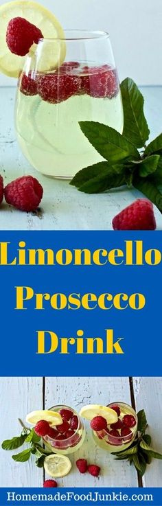 Delightful lemony Limoncello Prosecco drink that is beautiful for any gathering By HomemadeFoodJunkie.com