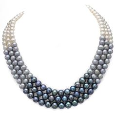 DaVonna Sterling Silver White Black and Grey Pearl 3-row Necklace (6-8 mm)  http://www.overstock.com/9245485/product.html?CID=245307