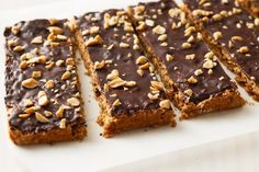 Keep this tasty peanut butter slice on hand to ward away a snack attack.Keep this tasty peanut butter slice on hand to ward away a snack attack. Chocolate Slice, Chocolate Topping, Chocolate Treats, Healthy Chocolate, Chocolate Recipes, Caramel Recipes, Peanut Butter Slice, Coconut Slice, Healthy Peanut Butter