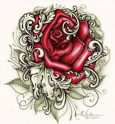 Cholo Art, Chicano Art, Rose Tattoos, Body Art Tattoos, Tatoos, Rose Tattoo Stencil, Badass Pictures, Lowrider Art, Skulls And Roses