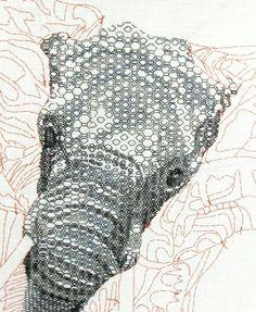 Blackwork Elephant: Advanced Blackwork Hand Embroidery Technique - This is amazing...
