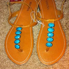 Turquoise stone sandals.