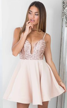 Rose Gold Sequin Flared Skater Dress