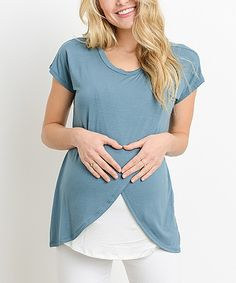 Sea Blue & Ivory Maternity/Nursing Scoop Neck Top #Ad
