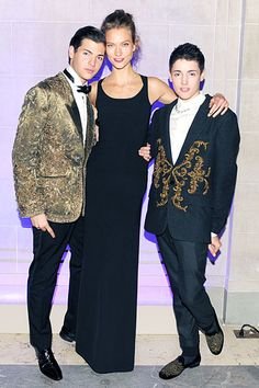 CR Fashion Book Magazine Launch at the Frick Collection - Peter Brant II in Dolce & Gabbana, Karlie Kloss and Harry Brant in Dolce & Gabbana