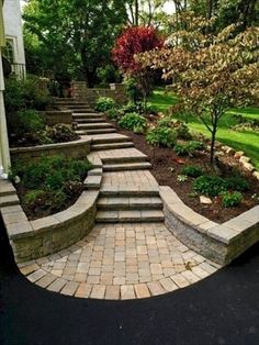 17 Small Front Yard Landscaping Ideas To Define Your Curb Appeal These basic yet smart front yard landscaping ideas design ideas will point you in the right direction. Front Yard Walkway, Outdoor Walkway, Sloped Front Yard, Front Path, Front Steps, Front Yards, Landscaping Retaining Walls, Backyard Landscaping, Backyard Ideas