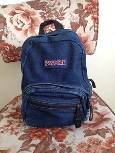 Vintage Bags and Purses vegan jansport school 80s 90s hippie hipster goth punk blue denim grunge mini backpack