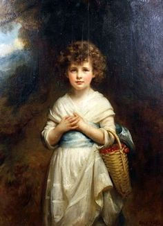 Moira Goff Holding A Basket Of Cherries by Mary Lemon Waller