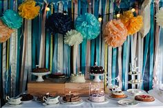 Dessert Cake Table Ribbon Backdrop Pom Pom Festoon Lights Colourful Outdoor Woodland DIY Yurt Wedding http://alexa-loy.com/