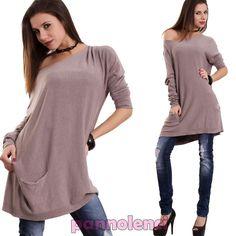 Maxipull-donna-miniabito-ampio-tasche-maniche-lunghe-pull-lana-nuovo-CC-1052