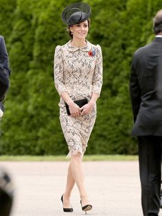 Catherine, Duchess of Cambridge attends a service to mark the 100th anniversary of the beginning of the Battle of the Somme in a gorgeous lace peplum dress! See other pics from the event!
