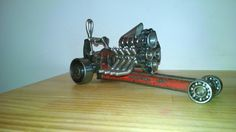 Pipe wrench dragster metal art by Jesse Rannings
