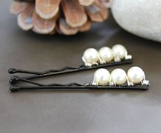 Items similar to Bridal Pearl Bobby Pins, Swarovski Pearl, Wire Wrapped, Wedding, Hair Accessory, Fashion, Prom on Etsy