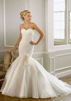 Glorious Mermaid Organza Sweetheart Sleeveless Court Train Bridal Gowns - 1300100638B - US$210.49 - BellasDress