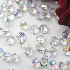 Mariage: 50 diamants strass irises                                                                    décoration mariage,strass,confettis,wedding table,place card,marque place,ballon ,guirlande,scatter