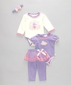 Take a look at this Duck Duck Goose Pink & Purple Ballerina Bodysuit Set on zulily today!