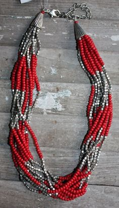 Multiple Strands of Red and Silver Beaded Necklace - Try with coral or amazonite