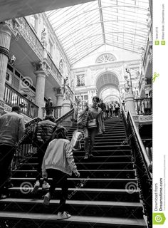 Busy Staircase In Passage Pommeraye Black And White Editorial Photo - Image of high, commercial: 104612776 White Editorial, White Image, High Contrast, Shopping Center, Street View, Black And White, Nantes, Black N White, Shopping Mall