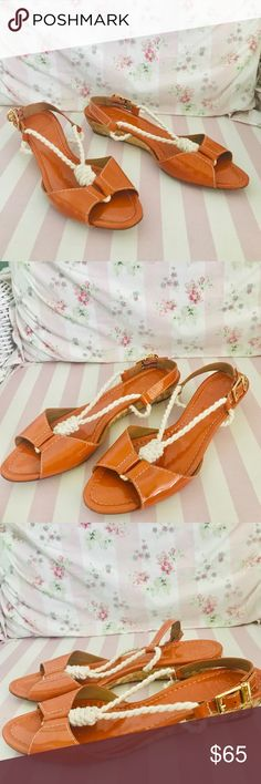 49b6d32a96f1e0 Tory Burch Orange Patent Leather   Rope Sandals 9 Tory Burch Women s Orange  Patent Leather