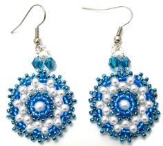 Blue Victorian Earrings Beading Pattern by Amari's at Bead-Patterns.com