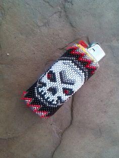 """Native American Beaded Lighter Cover/Case - """"Skull"""" on Etsy, $45.00"""
