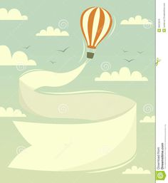 Hot Air Balloon With Banner Royalty Free Stock Image - Image: 35972076