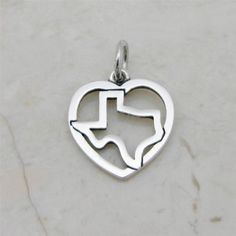 James Avery Sterling Silver Texas in Heart Charm Retired HTF