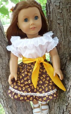 """18"""" Doll Clothes 1950's Style Peasant Style Blouse / Tiered Skirt and Sash Fits American Girl Julie, Molly, Emily"""