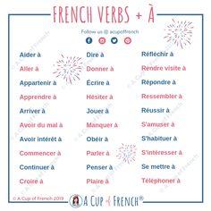 French verbs + preposition À - AllWorldLanguages French Verbs, French Adjectives, French Grammar, French Phrases, French Quotes, English Grammar, French Language Lessons, French Language Learning, French Lessons