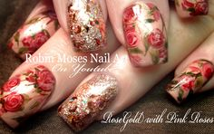 DIY Rosegold Roses and Glitter Nail Art Design #flowernails #promnails #rosegold #roses #gold #prom2016 #promideas #nails #nailart #howto #easy #DIY #DIYnails  #flower #flowers @opiproducts #humiditea #celestialismore #infraredytoglow