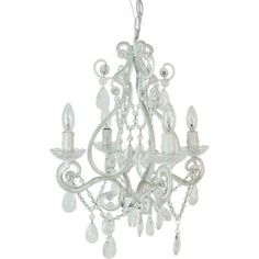 (PERFECT! With outlet plug!)Tadpoles 4-Light White Mini Chandelier - cchapl410 - The Home Depot